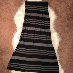 Black and Gray Stripes Maxi Skirt